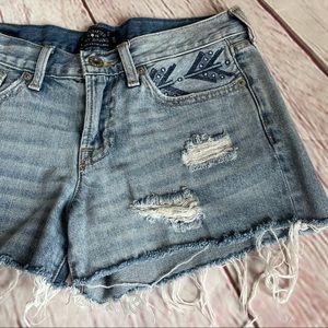 Lucky Brand Cut Off Boho Arrow Raw Hem Shorts
